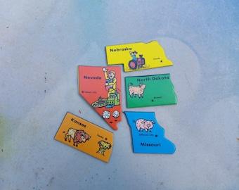 80s Game,  Vintage Game Pieces, State to State Game, Nevada, Nebraska, Missouri, North Dakota, Kansas