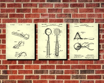 Ice Cream Scoops Patent Prints Set 3 Ice Cream Posters Cafe Art Ice Cream Print