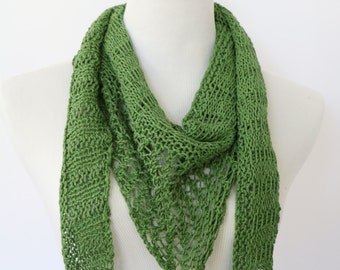 Green triangle knit scarf, open work knit scarf