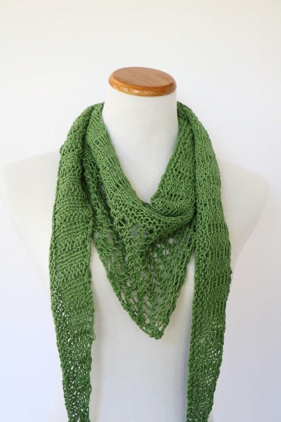 Open Knit Scarf Pattern : Green triangle knit scarf open work knit scarf