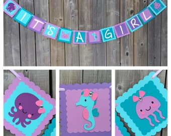 Under The Sea IT'S A GIRL banner, Under The Sea Baby Shower banner, Purple Blue Teal Pink, Crab Seahorse Octopus Jelly fish, Made to Order