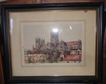 "Vintage Colored Print Titled "" Lincoln Cathedral"" Signed M.M. Rudge"