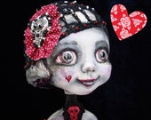 Valentine Gothic doll - Whimsical doll with sculls - Art interior big eyed doll - Collectible doll as Valentine gift