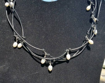 Black Leather Necklace with Pearls