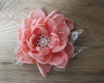 Flower coral on headband, corsage, clip or wristcorsage, baby, flowergirl, lace, flower, photoshoot, shabby chic, vintage wedding bouquet