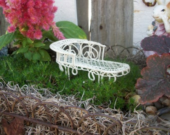 Miniature Fairy Garden Wire Chaise Lounge Chair Bench Victorian Style Accessory SupplyTerrarium