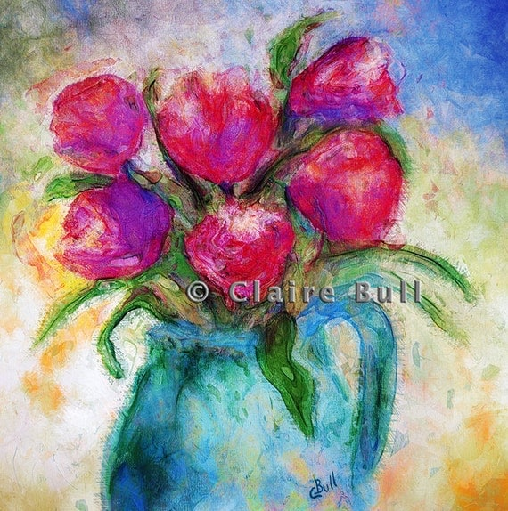 Six Tulips Pink Mauve Spring Flowers in Blue China Vase, 8x8 Floral Art, Flower painting, Colorful Art, Pink Flowers Painting by Claire Bull