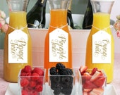 Ava Mimosa Bar Juice Drink Tags - Labels for Bubbly Champagne Bars at Bridal Shower, Wedding Party or Parties - White & Gold Glitter