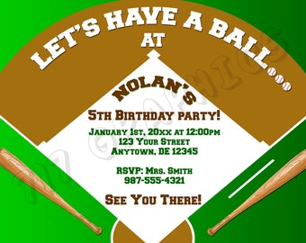 Baseball Birthday Invitation - Printable