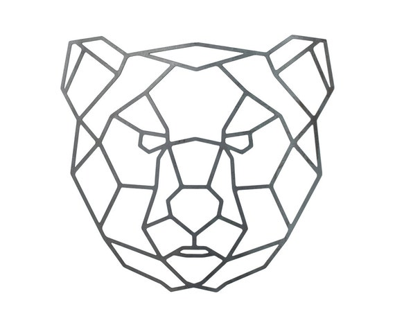 Items similar to Steel Geometric Bear Wall Art - Metal ...