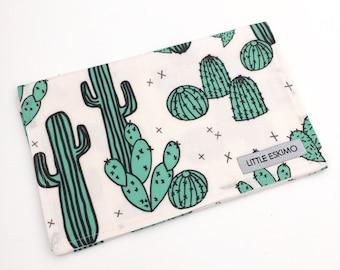 IN STOCK - Burping Cloth, Baby Burp Cloth, Burp Cloth, Shower Gift, Geo Cactus in Jade