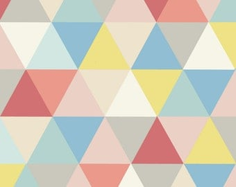 """Needlepoint Kit - Modern Square Design 14pt Canvas- 12"""" or 16"""" - Canvas Only or Full Kit w/DMC Wool - Triangles Pastel"""