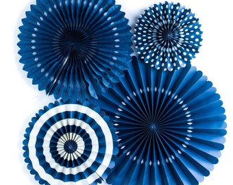 Navy Blue Party Paper Rosette Fans for a Modern Chic Event