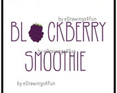 Blackberry Smoothie Drink. Clip Art. Illustration. Digital Artwork. Print on T-shirts. Use as decoration. For Invitations. Hand drawn.