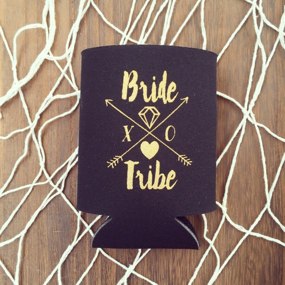 NEW! Bride Tribe Bottle Coolers | Boho Bachelorette Party Favors, Metallic Gold Arrow Bride Tribe Can Cooler Favors, Beer Bottle Can Holders