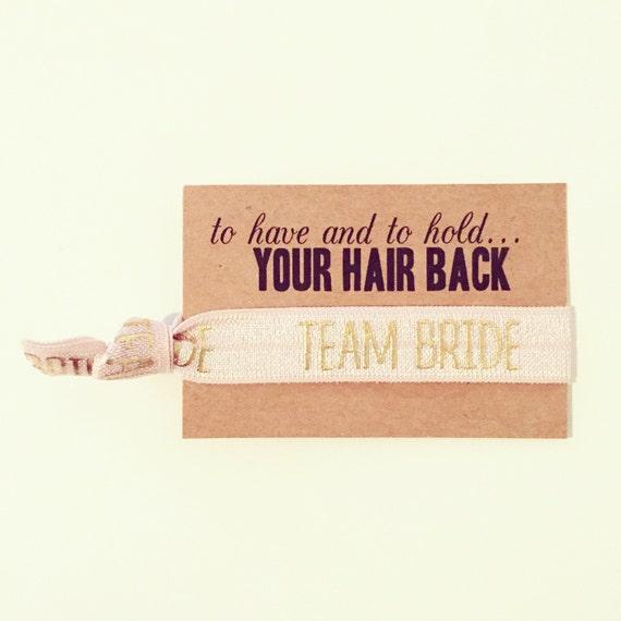 Bachelorette Party Favor | Team Bride Hair Ties, Gold Team Bride Hair Tie Favors, Champagne Blush Nude Rose Gold Bachelorette Hair Tie Favor