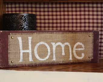 HOME wooden burlap sign