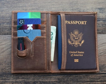 Leather Passport Wallet, PERSONALIZED Leather, travel wallet, passport case, passport holder, document wallet , USB, cards, money pocket