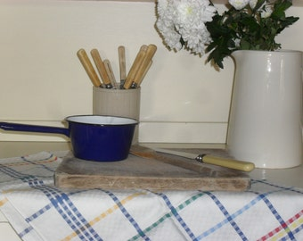 Vintage Tea Towel Checked Shabby Chic / Retro