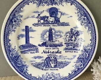 Vintage Nebraska blue transferware plate | souvenir plate | blue and white plate | Buffalo Bill | Boys Town | Nebraska State Capital