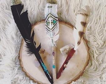 natural feather pen, rustic wedding pen, feather stone pen