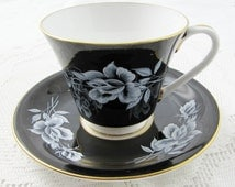 Aynsley Black Tea Cup and Saucer with White Rose, Vintage Bone China