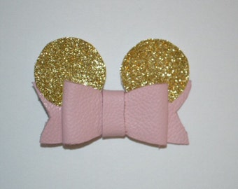 Pink and Gold Minnie Mouse Hair Bow