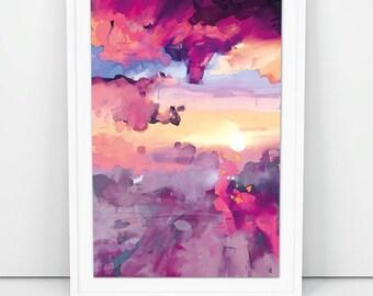 Sunset Painting , Sunset Sky, Printable Art, Sunset Print, original art, instant download, sky, minimal decor, acylics