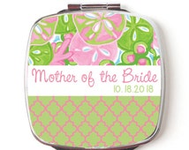 Mother of the Bride Mirror, Personalized Compact Double Sided Pocket Mirror, Bridal Party Gift, Preppy Floral Mirror