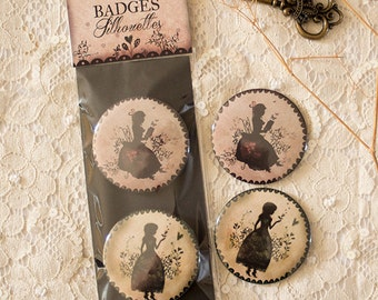 """Badges Set - Button - Brooches - Silhouette - cameo - Miss Shadow - """"Silhouettes"""""""