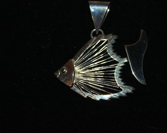 A2 Large Statement Wire Bodied Fish Pendant Signed BEST on Back Looks to be Silver or Silver Plated Looks Like Angel Fish