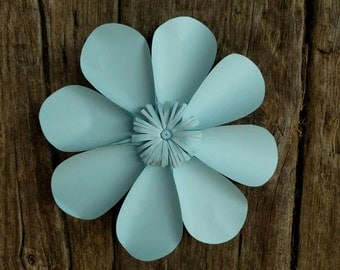 Giant Paper Flower 30cm diameter Daisy pale blue for wedding decor or photo booth backdrop.  In stock now. 706-046