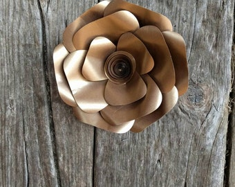 Giant Gold Paper Flower 20cm diameter camellia  for wedding decor or photo booth backdrop.  In stock now. 706-055