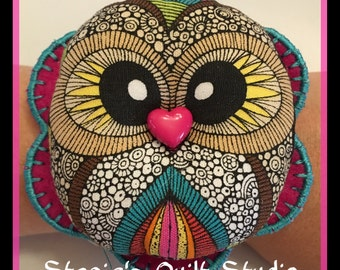 Handmade Wrist Pin Cushion - Hoot Owl Pink