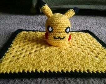 Pokemon inspired Pikachu crochet security blanket/lovey