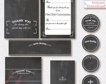 First Communion Printables. Chalkboard First Communion Printables. Editable First Holy Communion printables.