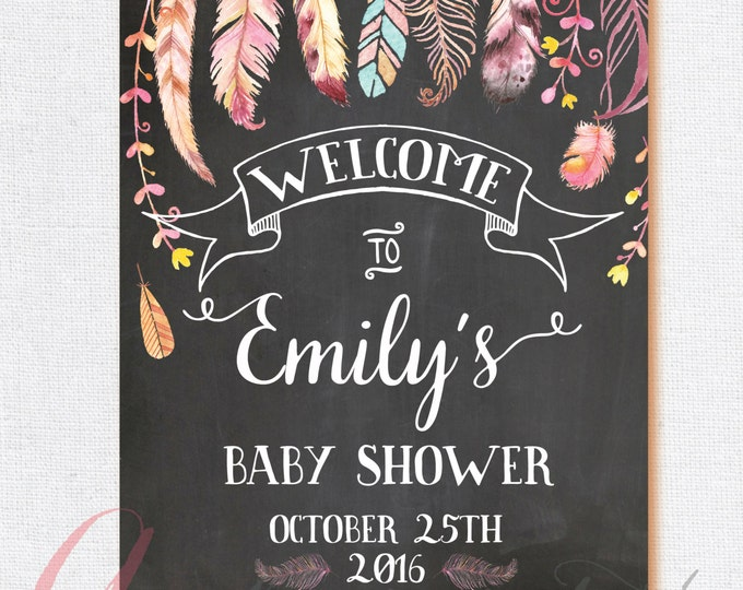 Welcome Baby Shower Sign. Chalkboard Welcome sign. Boho welcome sign. Chalkboard babyshower sign. Welcome bridal shower chalkboard