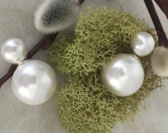 Double ball ear jackets/tribal style/double stud earrings/pearl studs/pearl double studs/Dior style studs/double stud/earrings/ pearl