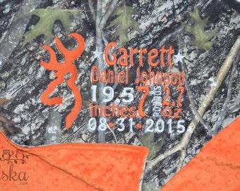 Camo Blanket, Personalized Camo Blanket, Camo Birth Stats Blanket, Orange Camo Blanket, True Timber Blanket, Birth Stats Blanket