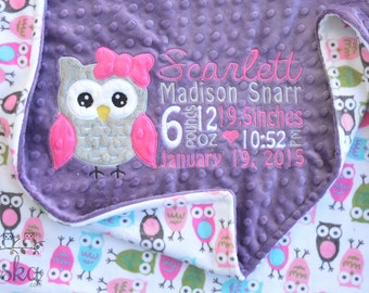 Personalized Baby Blanket, Minky Blanket, Personalized Birth Stats Blanket, Owl Applique Blanket, Choose your colors, Choose your size.