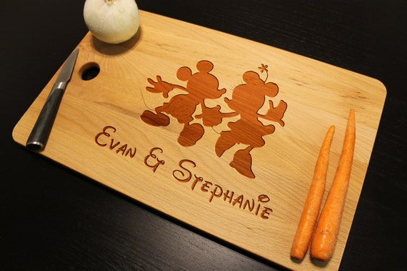 Disney Silhouette Cutting Chopping Board Custom Engraved for Wedding ...