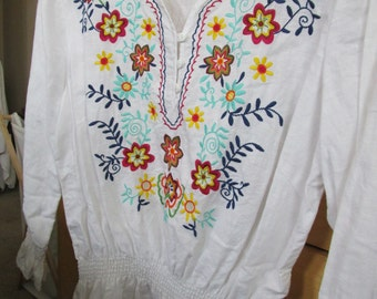 Embroidered Linen/ Cotton Blouse
