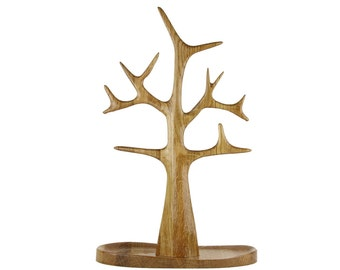 Tall Jewelry and Necklace Tree organizer and display in Solid Oak Wood - Glossy Finish