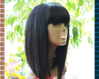 WiShe OH: 100% Remy Human Hair Wig- Stylish Bob Wig with China Bang- Quality Soft Human Hair