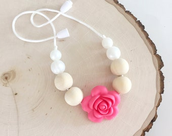 Toddler Chew Bead Necklace for little girls/Toddler Teething Necklace/ Pink Flower Pearl Beads/Silicone Chew Bead Necklace ~The Maggie