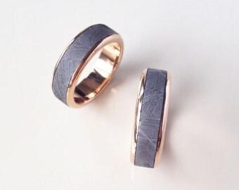 Meteorite Wedding Band - Modern Round-Edge Meteorite Ring with 18k Rose gold