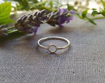 Simple Circle Ring, Silver Ring, Delicate, Thin Small, Tiny Ring,  Geometric Ring