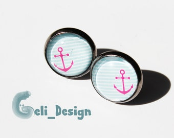 Cabochon earrings pink anchor Maritim