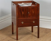 Antique English Georgian Regency Mahogany Inlaid Bedside Cabinet  Commode (Circa 1820)