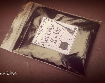 Witch's Black Salt, handmade in Wales, traditional recipe, use this product in protection and banishing rituals, 75g+